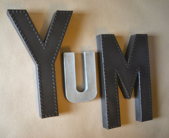 Yum Wall Art, Yum Sign, Kitchen Sign, Kitchen Yum Sign, Metal Letter, Large Letter, Rustic Letter, Large Metal Letter, Faux Metal, Large YUM