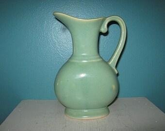 Brush Turquoise Pottery Pitcher, Vintage Pottery, Brush McCoy Pottery,