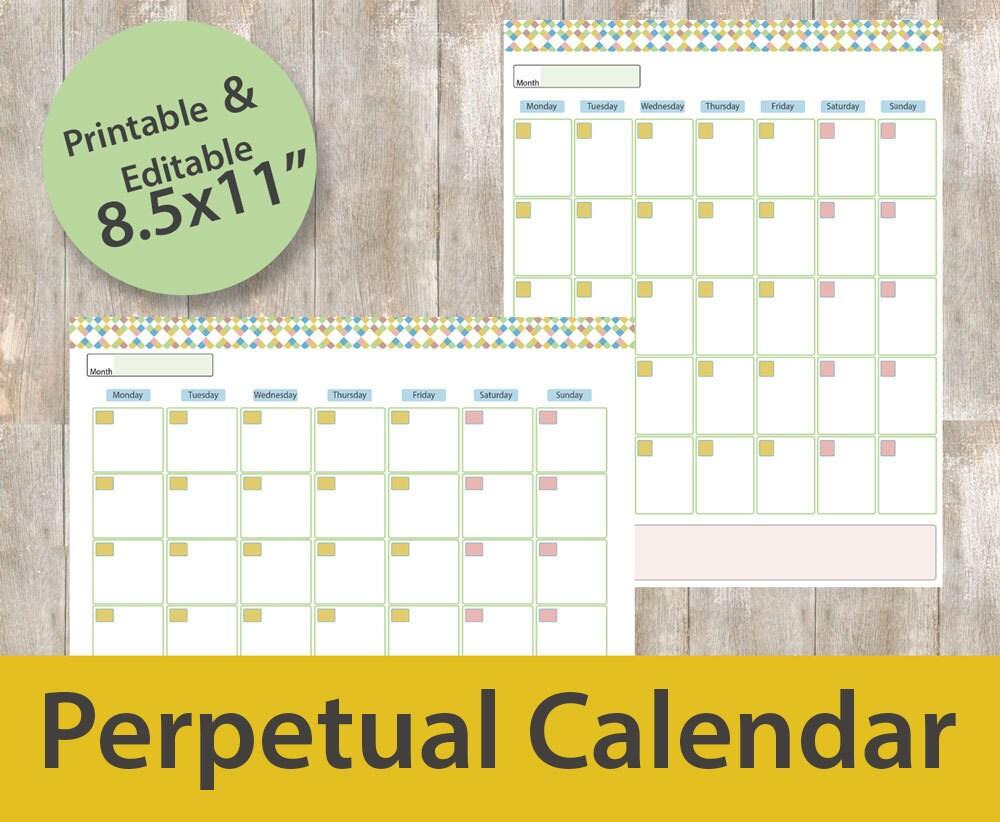 perpetual calendar printable year at one glance perpetual