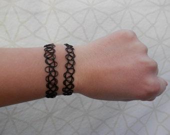 90's Black Tattoo Bracelet. Bohemian Hippie Gypsy Stretchy Bracelet.