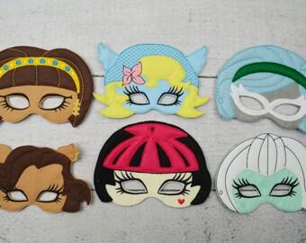 Monster Girls Children's Felt Mask Set  - Costume - Theater - Dress Up - Halloween - Face Mask - Pretend Play - Party Favor