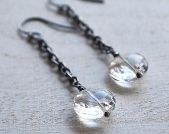 Quartz Crystal Earrings, Long Chain Earrings, Oxidized Sterling Silver Quartz Crystal Chain Earrings, Rustic Silver Chain Crystal Earrings