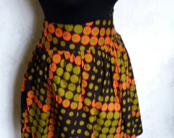African print  Ankara gathered skirt Fully lined with side pockets. Size UK18  (other sizes made to order)