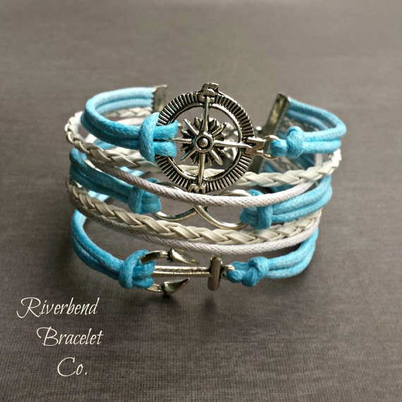 Silver Compass Bracelet, Blue Anchor Bracelet, Infinity Bracelet, Nautical Jewelry, Compass Jewelry, Gift for Her, Sailing Jewelry