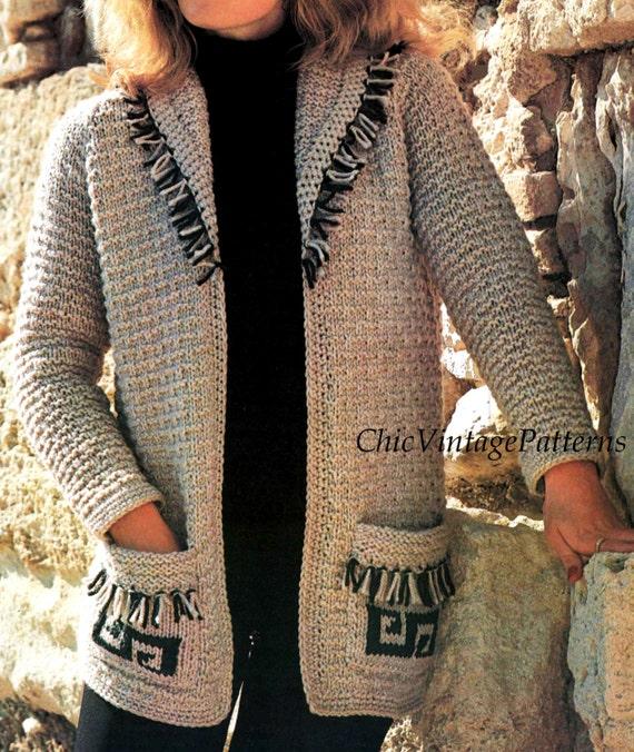 Inca Knitting Patterns : Knitted Fringed Jacket ... Inca Style ... Vintage PDF Knitting Pattern ... Wa...