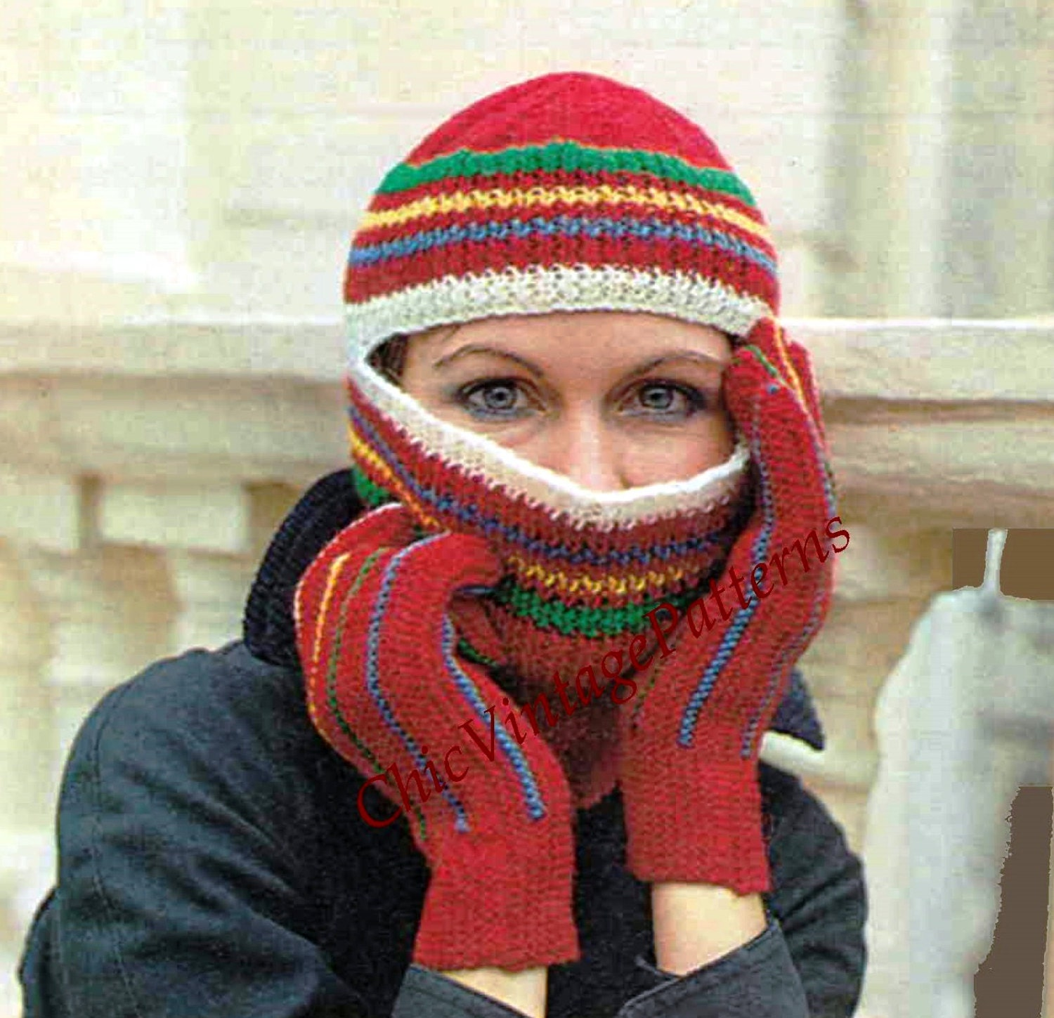 Ladies Balaclava Knitting Pattern : 1970s Balaclava Helmet and Gloves ... Ladies Knitted