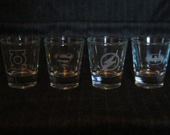 Superhero Shot Glass Set of 4 DC Comics