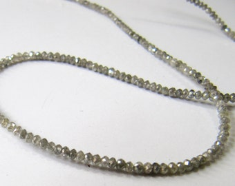Exclusive AAA Quality Natural Grey Diamond Beads 2mm Rondelle Faceted,Strand 12 inch Grey Diamond, WHOLESALE RATES