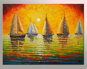 Oil Painting, Abstract Art, Large Art, Abstract Painting, Original Painting, Sail Boat Painting, Canvas Painting, Large Painting, Wall Art