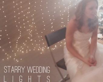 Backdrop, Wedding Backdrop, Wedding Reception Decor, Wedding Curtain, Hanging Backdrop, Starry Night Wedding, 6.6ft Fairy Lights Battery
