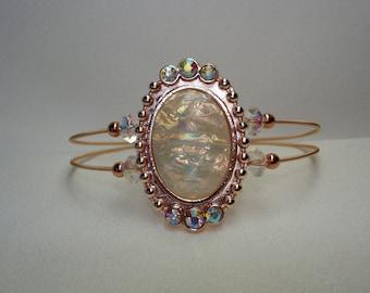 Guitar String Bracelet With Oval Rose Slider, Guitar String Jewelry, Rose Gold Bracelet, Copper Bracelet, Vintage Bracelet, Oval Slider