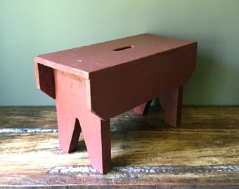 Farmhouse Bench with Barn Red Paint, Shabby Chic Decor, Primitive