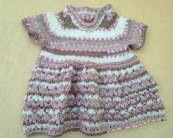 Hand knitted baby dress babyshower newborn gift