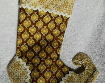 Christmas Stocking, Golden Victorian print