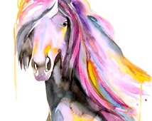 ORIGINAL Horse Watercolor Painting - Horse Illustration - Watercolor Painting - Animal Painting - Home Decor - Wall Decor