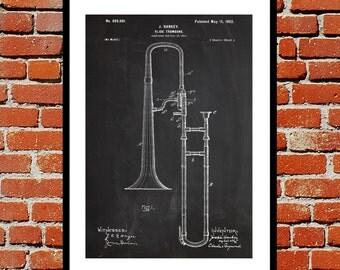 Trombone Poster, Slide Trombone Print, Slide Trombone Patent, Slide Trombone Art, Slide Trombone Blueprint, Slide Trombone Decor, Trombone
