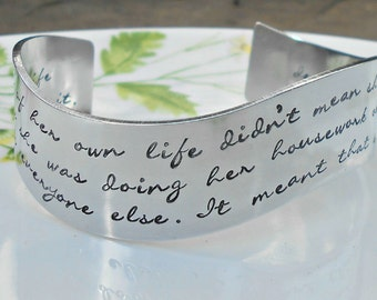 Inspirational Woman - Queenism Quote Cuff - Hand Stamped Cuff Bracelet