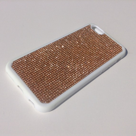 """iPhone 6 / 6s 4.7"""" Rose Gold Diamond Crystals on White Rubber Case. Velvet/Silk Pouch Bag Included, Genuine Rangsee Crystal Cases"""