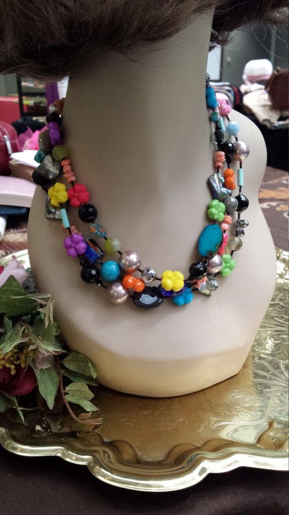 three strand assorted stone necklace