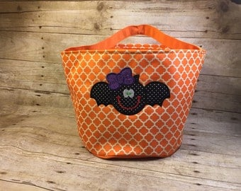 Orange Monogramable Quatrefoil  Halloween/Fall Bags Trick-Or-Treat Bags Totes Kids Children Candy
