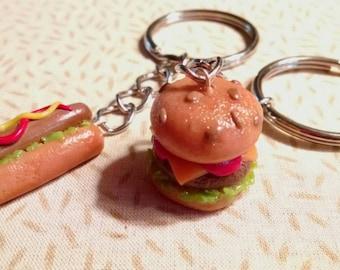 Cheeseburger, hotdog keychain. Handmade