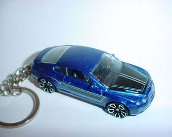 3D Bentley Continental Supersports custom keychain keyring key chain by Thornton Gifts finished in blue color trim
