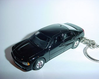 3D 2008 Dodge Charger R/T custom keychain by Brian Thornton keyring key chain finished in black color trim chrome wheels diecast metal body