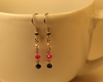 Pink and Black Bead Dangle Earrings
