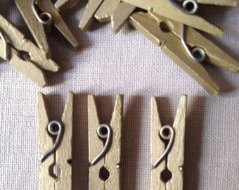 Mini Gold Wood Clothes Pegs. - For Craft, Events, Bonboniere Bags - Wooden Clothespins