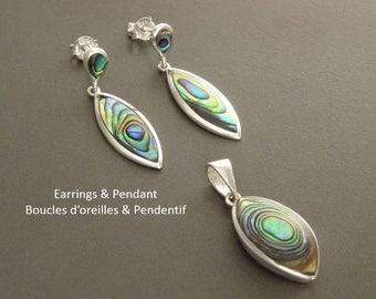Paua Shell Earrings and Pendant Set,  Sterling Silver 925, Blue Green Paua Shell with Rainbow Highlights, Almond Shape, Minimalist Jewelry.