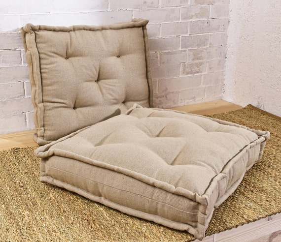 Wool-Filled Tufted Cushion / Floor Cushion / Square Chair