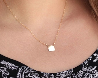 Tiny Square Necklace, Gold Square Necklace, Dainty Square, Minimal,Geometric