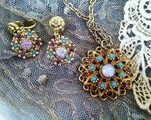 Vintage Mexican Opal Necklace and Earrings/Costume Jewelry/Retro 50's Jewelry Set/Hipster Jewelry