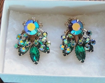 Vintage Rhinestone  Earrings Blue and Green Great color! Clip on Emerald green Aurora Borealis Marked Pat Pend