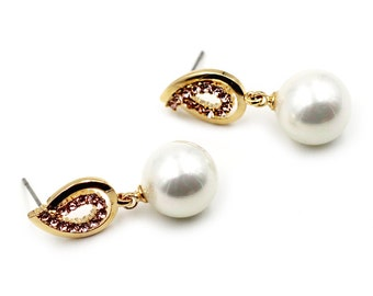 Fashion Pearls Crystal Gold Metal Earrings