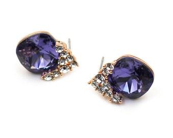 Fashion Purple Crystal Silver Earrings