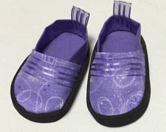 18 inch doll shoes purple doll shoes American Girl doll shoes sparkly purple slip on shoes for dolls