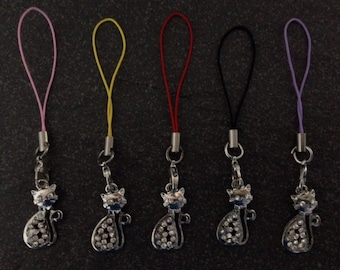 Diamante Cat Bag/Purse/Phone Charms.