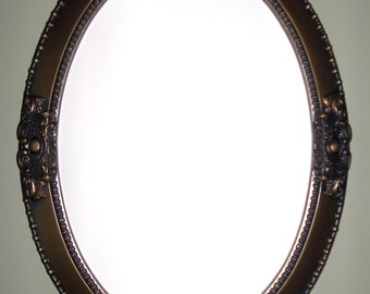 White frame oval mirror bathroom mirror vanity by wallaccents for How to frame an oval bathroom mirror