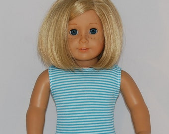 "Turquoise and White Stripe Tank Top - Doll Clothes made to fit 18"" American Girl Dolls"