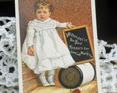 Victorian Trade/Advertising Card, Little Girl Promotes Willimantic Thread, Great to Frame for Sewing Room, or for Any Paper Crafting #389 ok