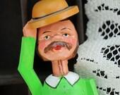 Antique Mechanical, Hand Carved, Anri Bottle Stopper  Man Tipping Hat  #476 (AL) ok