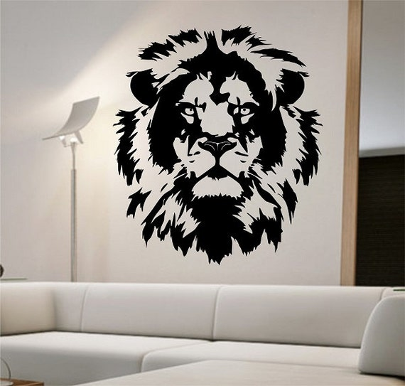 Lion vinyl wall decal lion face abstract design sticker art for Abstract mural designs