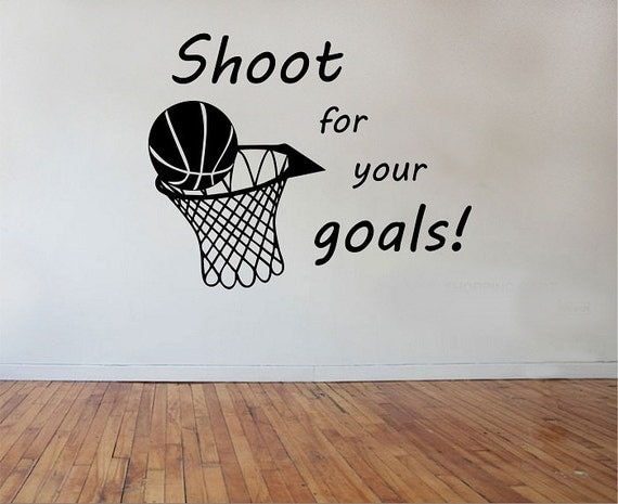 Shoot for your goals basketball quote vinyl wall decal sticker for Basketball mural wallpaper