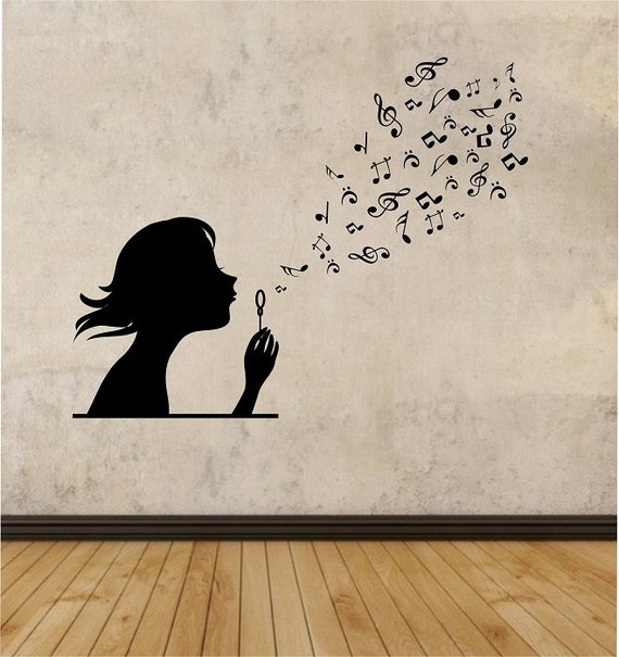 Girl Blowing Music Notes Vinyl Wall Decal Sticker Art Decor