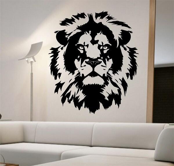Lion Vinyl Wall Decal Lion Face abstract design Sticker Art