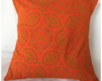 Orange Shield ShweShwe Cushion Cover