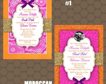 Moroccan Baby Shower Invitations And Signs Printable Uprint Digital Printed  * 4 Designs * READ DESCRIPTION