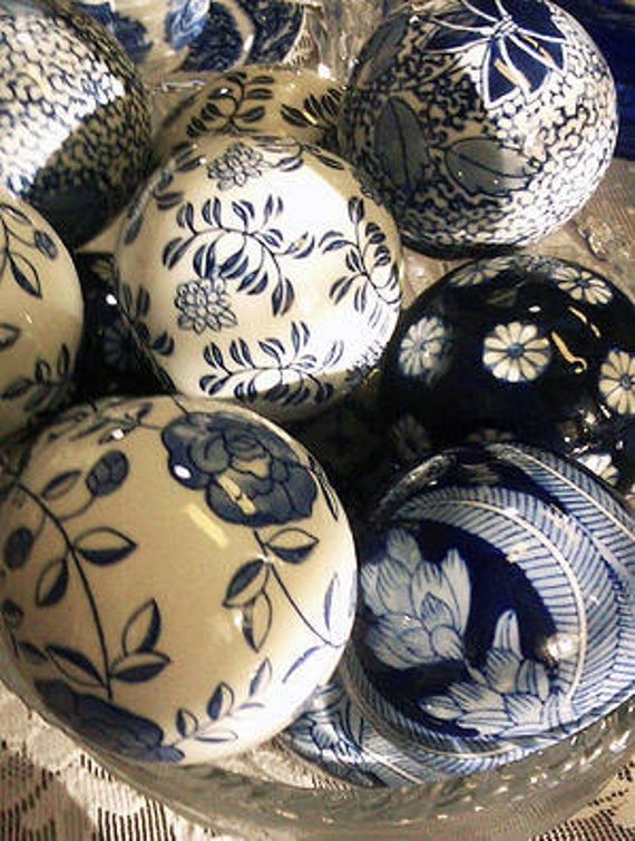 Porcelain cobalt blue and white decorative balls by