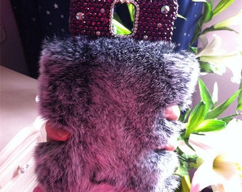 Luxury Bling Gray Soft Fluffy Fur Furry Sparkles Purple Gems Crystals Rhinestones Diamonds Lovely Fashion Hard Cover Case for Mobile Phones
